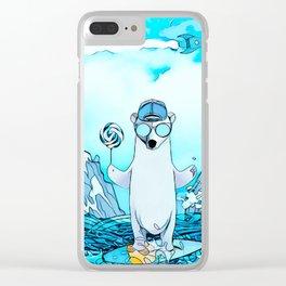 Polar bear on the surf board Clear iPhone Case