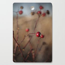 Burgundy Red Rose Hips on Brown and Blue Cutting Board