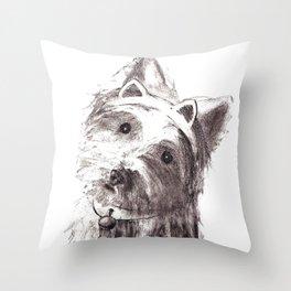Bon Bon - the cat-like dog Throw Pillow