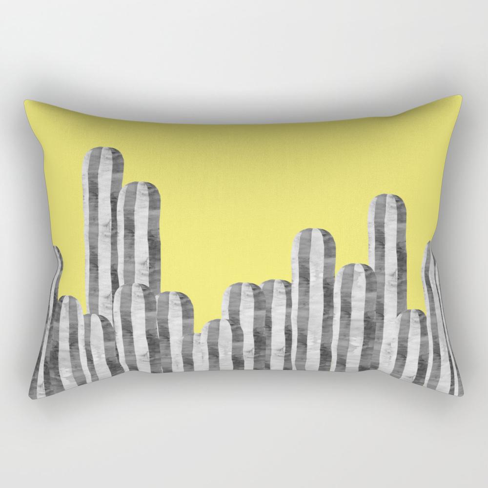 Cacti On Yellow Background Rectangular Pillow RPW8958832