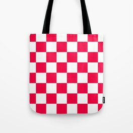 Cheerful Red Checkerboard Pattern Tote Bag