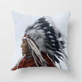 Lazy Boy - Blackfoot Indian Chief Throw Pillow
