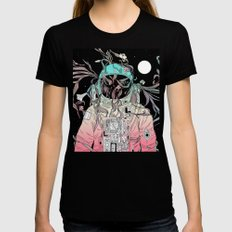 Life is Invading My Space Black Womens Fitted Tee MEDIUM