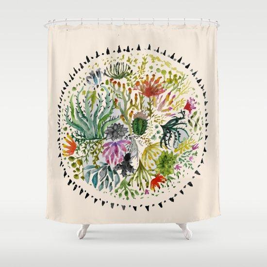 Succulents Mandala Shower Curtain By Hannahgraff
