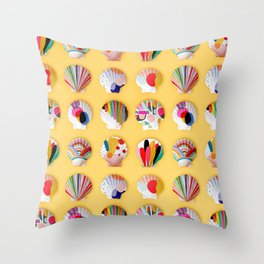 Rainbow Print Shells Throw Pillow