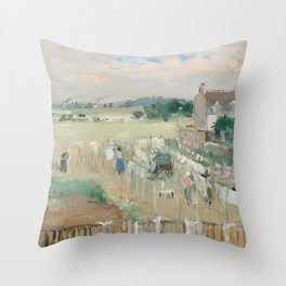 Hanging the Laundry out to Dry by Berthe Morisot Throw Pillow