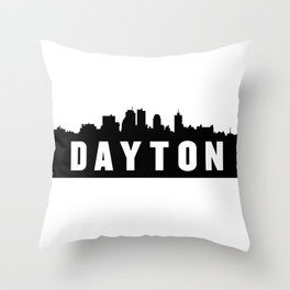 Dayton, Ohio City Skyline Silhouette Throw Pillow