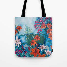 Blue Jungle of Orange Lily and Pink Trumpet Vine Floral Tote Bag