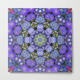 Garden mosaic kaleidoscope mandala - cool blues 2 Metal Print