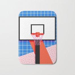 Baller - memphis retro grid neon pattern minimal basketball sports athletic art print Bath Mat