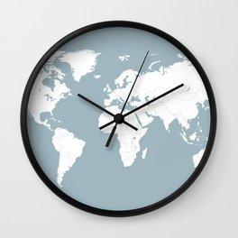 Minimalist World Map in Slate Blue Wall Clock