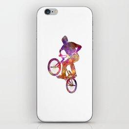 Man bmx acrobatic figure in watercolor iPhone Skin