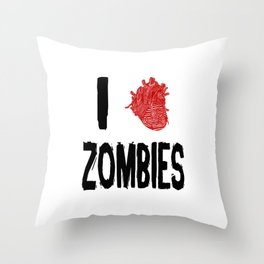 I Love Zombies with a Heart to replace the word Love Throw Pillow