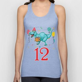 12th Birthday For Boys Dinosaur Birthday Unisex Tank Top
