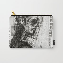 Waiting - Charcoal on Newspaper Figure Drawing Carry-All Pouch