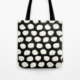 Trendy Cream Polka Dots on Black Tote Bag