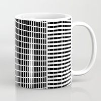 buildings Mugs featuring TWO BUILDINGS by THE USUAL DESIGNERS