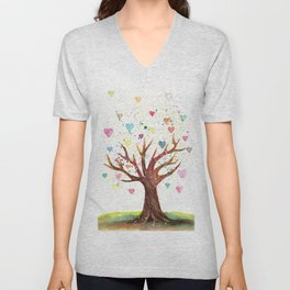 Heart Tree Watercolor Illustration Unisex V-Neck