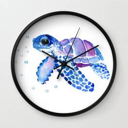 Blue Purple Sea Turtle, Children artwork Wall Clock