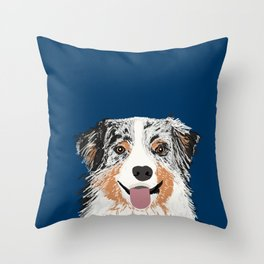 Australian Shepherd blue merle cute pet portrait dog person must have gifts for aussie owner  Throw Pillow