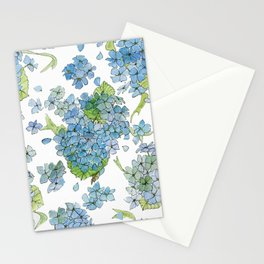 Blue Hydrangea Watercolor Stationery Cards