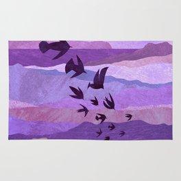 Purple Mountains Birds Take Flight Rug