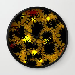 abstract glowing pattern of gears and spheres in red gold on a black background for fabrics o Wall Clock