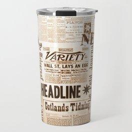 Vintage Newspaper Ads Black and White Typography Travel Mug