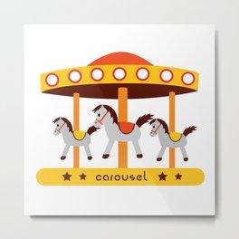 carousel amusement park Metal Print