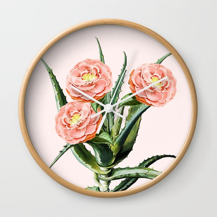 Blush Cactus || #society6 #decor #buyart Wall Clock
