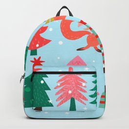 Fox And Bird In A Christmas Tree Winter Wonderland Backpack