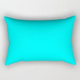 Neon Aqua Blue Bright Electric Fluorescent Color Rectangular Pillow