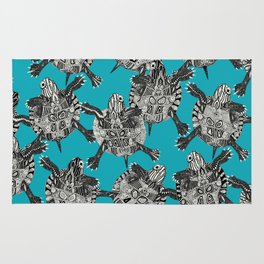turtle party surf blue Rug