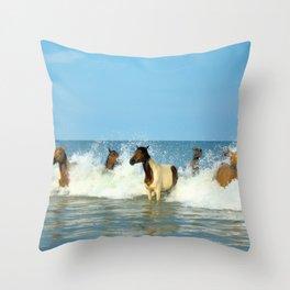 Wild Horses Swimming in Ocean Throw Pillow