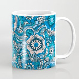 Blue Summer Boho Floral Pattern Coffee Mug