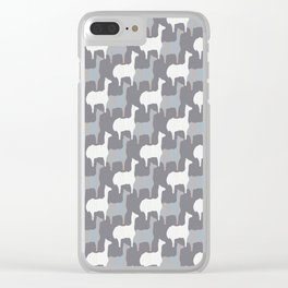 Gray Pink and White Llama Silhouette Seamless Clear iPhone Case