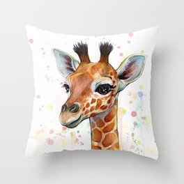 Giraffe Baby Animal Watercolor Whimsical Nursery Animals Throw Pillow