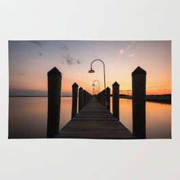 Rusty Rudder Dock Sunset Rug