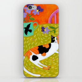 Calico Cat on table reproduction of original painting by Tascha Parkinson iPhone Skin
