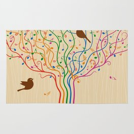 Retro Style Musical Notes Tree Rug