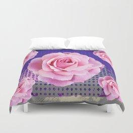 SHABBY CHIC PINK GARDEN ROSES PURPLE ART Duvet Cover