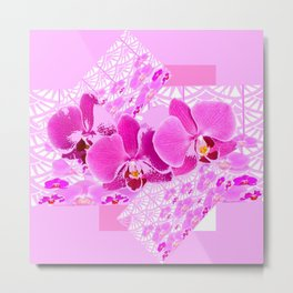 CERISE PINK ORCHID FLOWERS  WHITE PATTERN ABSTRACT Metal Print