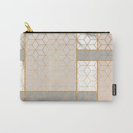 Golden Pastel Marble Geometric Design Carry-All Pouch