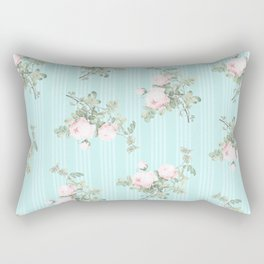 Shabby chic roses pink and mint Rectangular Pillow