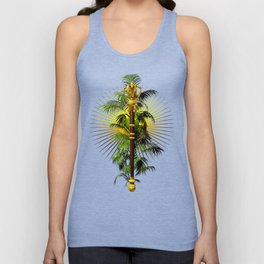 growing power, royal scepter with palm tree in front of aureole Unisex Tank Top