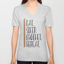 Eat Sleep Crochet Repeat Unisex V-Neck