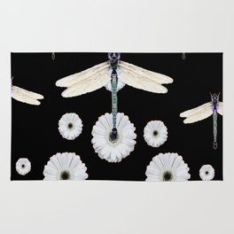 SURREAL WHITE DRAGONFLIES FLOWERS BLACK COLOR PATTERNS Rug