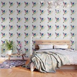 Hummingbird , Blue Turquoise Pink Wallpaper