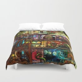 The Fantastic Voyage - a Steampunk Book Shelf Duvet Cover