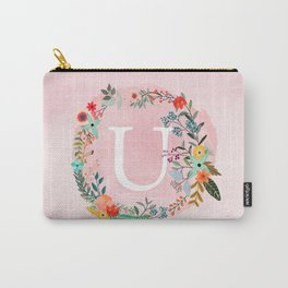Flower Wreath with Personalized Monogram Initial Letter U on Pink Watercolor Paper Texture Artwork Carry-All Pouch